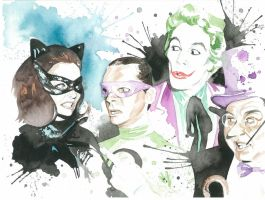 Batman Villains Watercolor by JAWart728