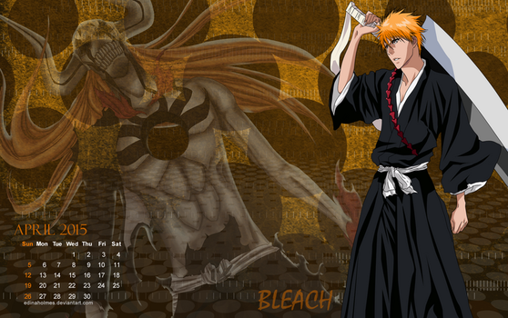 Calendar Wallpaper - April 2015 - Ichigo (Bleach) by edinaholmes