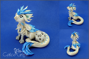 Frost the pearl-white griffin - polymer clay by CalicoGriffin