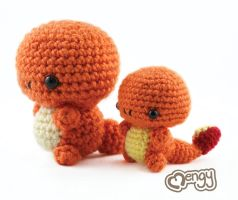 Double the Cuteness - Charmander Amigurumi by mengymenagerie