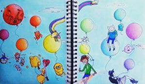 Adventure Time - Rainbow Balloons by toegetic
