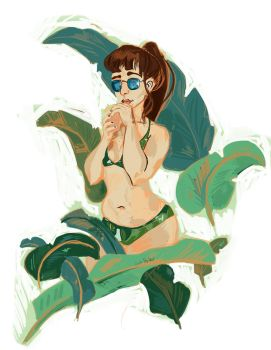 Daily Drawing: green bikini by PlutoLaRu