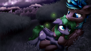 Starlight Field Cuddles [Commission] by AurelleahFreefeather