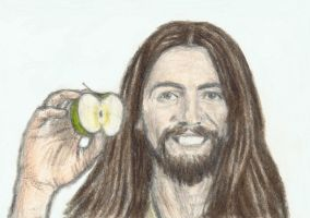 George Harrison with an apple by gagambo