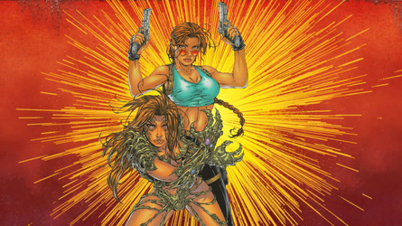 Witchblade and Tomb Raider Wallpaper by Vampirewiccan
