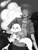 Commission sketch -  Dr. Ian with Tesla by AntheiaVaulor