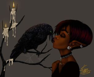 Kissing Crow by KiraTheArtist