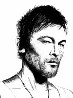 Norman Reedus / Daryl Dixon portrait by JohnHughesArt