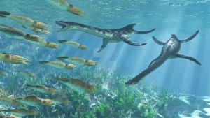 Plesiosaurs and Belemnites2 by PaleoGuy
