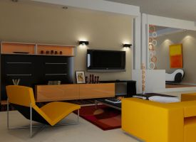 retromodern orange living room by zigshot82