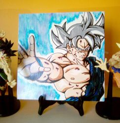 Hand painted canvas Goku ultra instinct mastered by ChibiDamZ