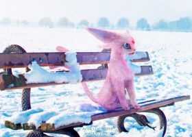 Espeon in the snow by aceacisclo