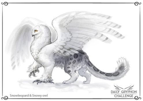 Gryphon Challenge 09 : Snowleopard and Snowy owl by Pechschwinge