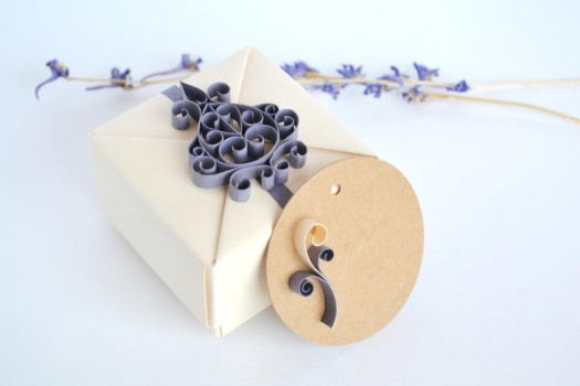 Beige and Purple Origami Jewelry Gift Box by ReverseCascade