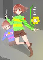Undertale Chara,Frisk and Flowey by Ayamoon1016