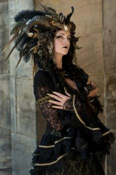 Stock - Black  gold Vampire Queen Faun Demon 26 by S-T-A-R-gazer