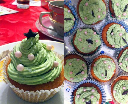 Maccha Christmas Tree Cupcakes by nenco