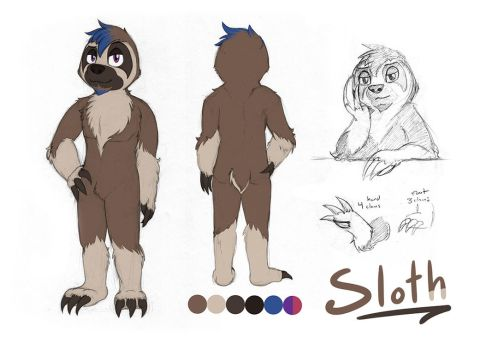 Sloth Character Reference by CrownePrince