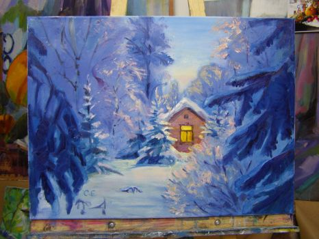 Little house in a winter forest by rosinka