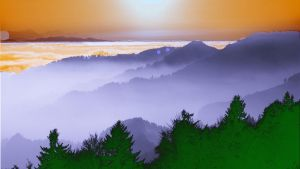 Mountain Painting With Sunset by nitinrajput90