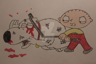 Stewie beating up brian by RedPandaLover