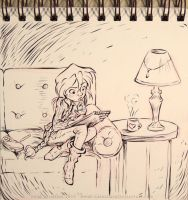InkTober - Day 19 - A Gal Sketching by Heidi-Celestial