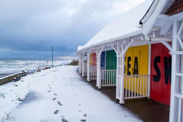 Beach Huts In The Snow by Lady---Vengeance