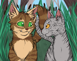 Crookedstar and Willowbreeze by Lunatic-Mo-on