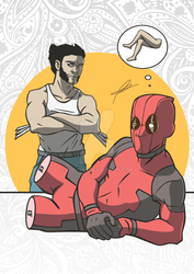 Deadpool no legs. with wolverine by RoryJas