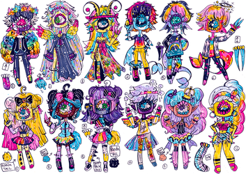 SOLD-BIG LisaFrank inspo Xynthii set by Guppie-Vibes