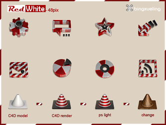 Red and White-48 icon by bingxueling