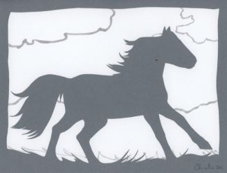 Grey Ghost Horse Papercut by calzephyr