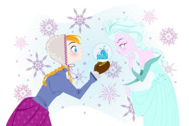 Snow Sisters- Anna and Elsa from Frozen by spicysteweddemon