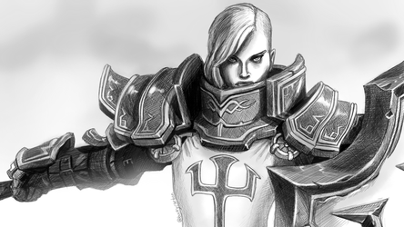 Johanna from Diablo 3 in Crosshatching by InAmberClad