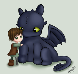 Hiccup and Toothless by AznAshie