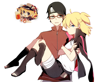Boruto and Sarada Render By YounBel2000 by younbel2000