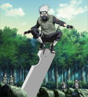 Kakashi Hatake is standing on guillotine sword by TheBoar
