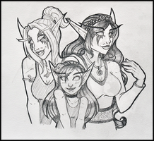 Commission - Xaneria, Savaena, and Grandchild by TouchedVenus