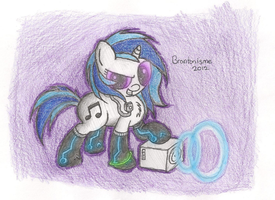 Vinyl Scratch with neon socks by Brantonisme