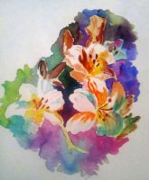 Watercolor flowers by saratopale