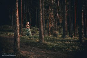 Girl in the Forest - Sunset by hmcindie