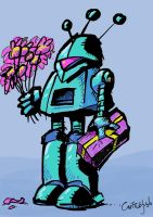 Lovesick Robot with Flowers by m99art