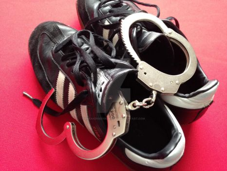 Adidas Samba sneakers and chain handcuffs. by SneakerBoyBondage