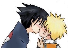 Sasunaru kiss by taterchan