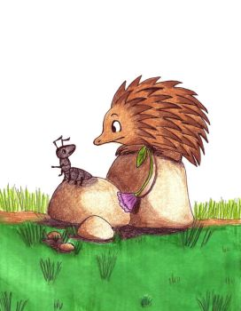 Ant and Echidna by redmatilda