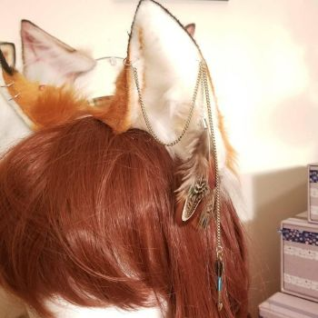 Details on a pair of Fox Ears.  by ApocalypseKitty