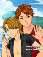 At the Beach: Michael and Oscar by TheEyeShield