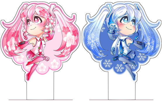Sakura and Snow Miku by xmoonlitxdreamx