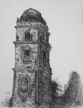 Paoay Bell Tower. pen and ink 2014. by DanteLuzon