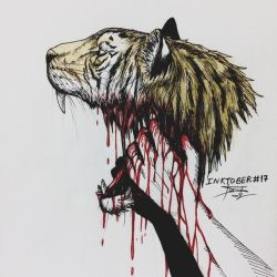 Inktober #17 - Graceful/The Tiger/Mouth Trauma by tirmesaito